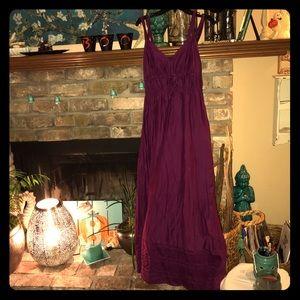 Plum colored silk & cotton blend bohemian dress